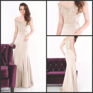 Champagne Party Cocktail Gown Beading Spandex Evening Dresses Y1037 pictures & photos