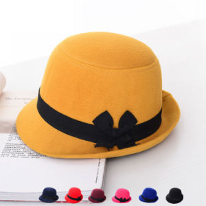 Lady Fashion Imitation Wool Winter Top Formal Bucket Hat (YKY3228) pictures & photos