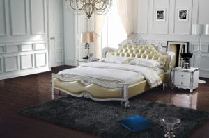 Europe Classical Style Genuine Leather Bed pictures & photos