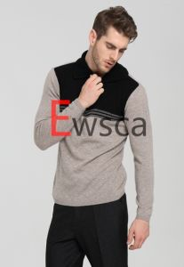 Men′s Half -Zip Pure Cashmere Sweater with Black and White Colros pictures & photos