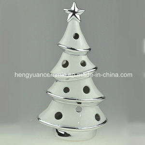 Spot Goods! Ion Plating Christmas Tree Shaped Candle Holders Ceramic pictures & photos