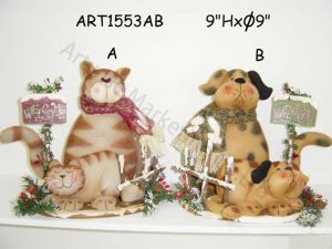 "13""Hxdia 9"" Fleece Cat and Dog Family-2 Asst-Christmas Decoration pictures & photos"