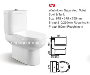 878 Ceramic Washdown Two-Piece Toilet, pictures & photos