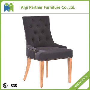Cork Rubber Wood Frame Black Fabric Dining Chair (Amelia) pictures & photos