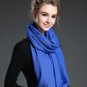 Women in Winter to Keep Warm Plain Blue Polyester Scarf Shawl pictures & photos