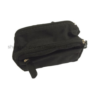 Black Cotton Cosmetic Bag with Rubber Logo Stitching pictures & photos