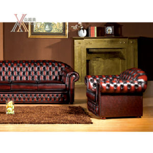 Antique Style Leather Sofa Set (S21)