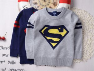 T12010 Newest Wholesale Autumn Baby Boy Super Man Shirt Kids Cotton Knitted Thicken Pullover Clothing Children Long Sleeved Bottoming Shirt pictures & photos