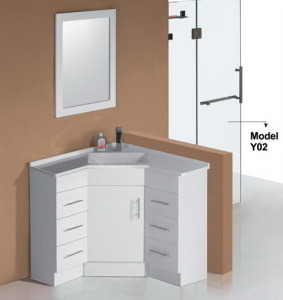 High Glossy Corner Bathroom Vanity with Mirror (PC9090) pictures & photos