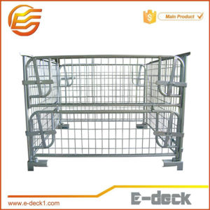 Four Sides Steel Stackable and Foldable Cage Pallet Rack with Wood Pallet