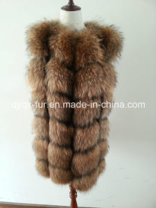2015 Fluffly and Soft Real Raccoon Natural Color Fur Vest pictures & photos