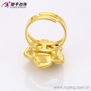 2016 Hot Promotion 24k Gold-Plated Women′s Ring with Flower in Environmental Copper -13506 pictures & photos