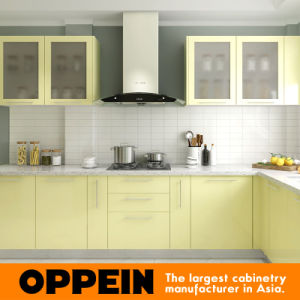 Modern L Shaped Lacquer Wood Wholesale Modular Kitchen Units (OP16-L02) pictures & photos