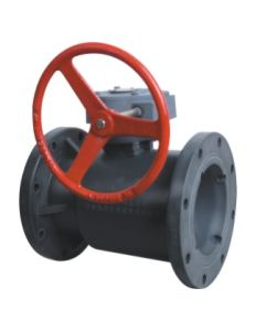 Best Quality Rpp Pph PVDF Pph CPVC Upvcworm Gaer Type Flange Ball Valve, Industrial Plastic Valve pictures & photos