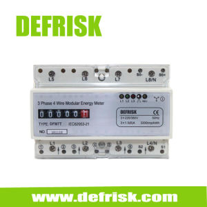Three Phase DIN Rail Kwh Meter Cyclometer Display 7 Modular