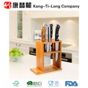 Bamboo Kitchen Knife Holder Scissor Storage Organizer