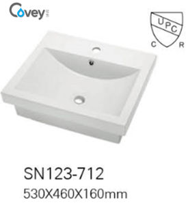 Ceramic Semi Recessed Big Size Countertop Basin/Sink with Cupc/Ce (A-SN123-712)