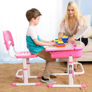 Metal and Wood Child Study Height Adjustable Table