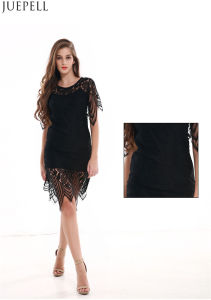 Summer New European and American Women′s Round Neck Short Sleeve Lace Dress Sexy Halter Slim Package Hip Skirt Lady Dress pictures & photos