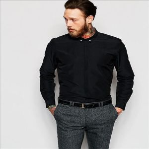 2016 Men′s New Arrival Latest Formal Black Tc Shirts pictures & photos