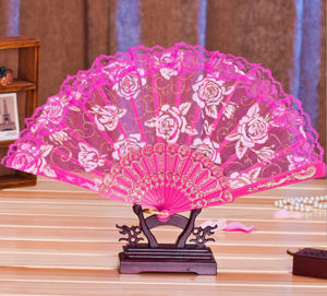New Fashion Design Rose Lace Hand Fan pictures & photos