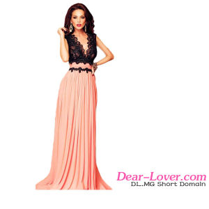 Fashion V Neck Lace Maxi Evening Dress pictures & photos