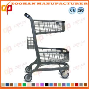 Stylish Metal Supermarket Handling Compact Shopping Basket Trolley Cart (Zht196) pictures & photos