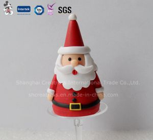 Polymer Clay Santa Claus with Holder Christmas Cake Decoration pictures & photos