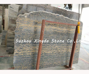Blue Luise Cross Grain Grey/Yellow Marble Slab