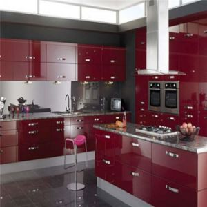 Modern Red Lacquer Finished Kitchen Cabinet Bulk Sale