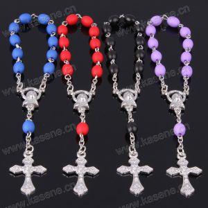 Fashion Style Colorful 6*8mm Ellipse Bead Plastic Rosary Bracelet