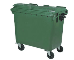 China Supplier Outdoor Plastic Dark Green Large Garbage Container pictures & photos