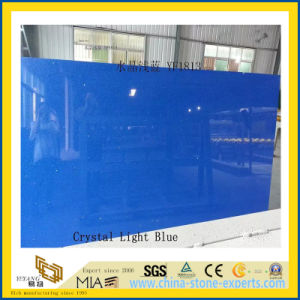 Polished Crystal Light Blue Artificial Quartz Slabs for Countertops (YQC) pictures & photos