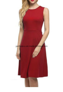 Fashion Women Sleeveless Red A-Line Dress Sexy Ladies Dress pictures & photos