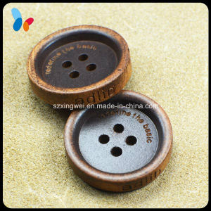 Custom Laser Logo Darker 4 Holes Wood Sewing Button pictures & photos