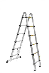 3.8m Extendable Aluminum Ladder with Silver White pictures & photos