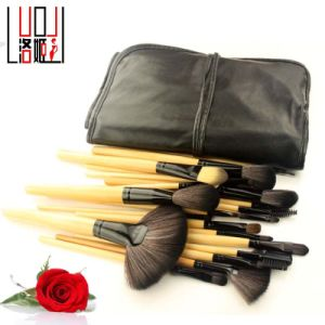 24 Pieces Cosmetic Tool Portable Orignal Wood Handle Makeup Brush