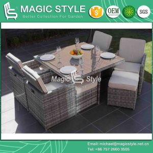 Classical Wicker Dining Set Patio Dining Set with Stool (Magic style) pictures & photos