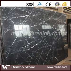 Precut Chinese Natural Black Marquina Marble for Bathroom Tile