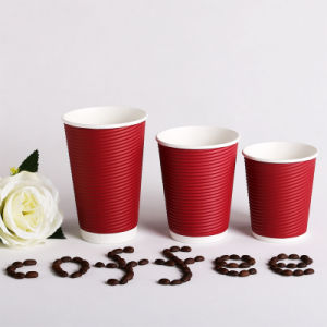Red Ripple Paper Cup with Lid