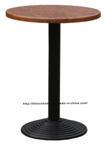 Industrial Metal Dining Restaurant Iron Steel Leg Wooden Top Table pictures & photos