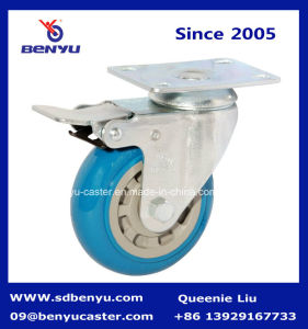 Iron Post PU Castor Wheel with Total Brake pictures & photos