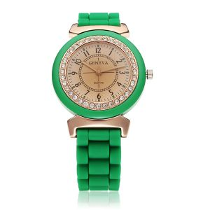 Green Color Crystal Silicone Jelly Watch with Competitive Price pictures & photos
