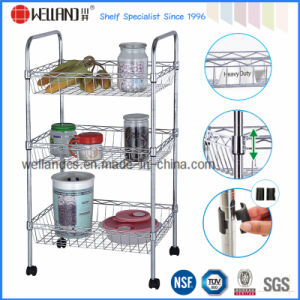 Adjustable Chrome Metal Kitchen Basket Trolley with Wheels pictures & photos