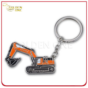 Novelty Design Excavator Shape Metal Keychain with Soft Enamel Finish pictures & photos