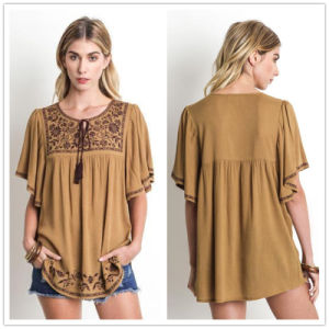 Olive Green Peasant Boho Hippie Chic Embroidery Tunic Blouse Shirt Top