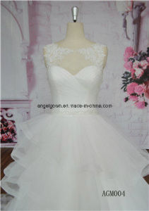 New Elegant Tulle Lace Long Sleeve Round Neck Ball Gown pictures & photos