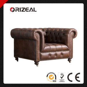 Orizeal Genuine Leather Tufted Scroll Arms Chair Oz-Ls-2014) pictures & photos