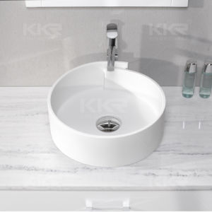 Stone Resin Solid Surface Round Shape Vessel Bathroom Sink pictures & photos