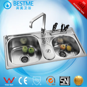 Competitive Built-in Drainboard Stainless Steel Kitchen Sinks with Trash Can (BS-950) pictures & photos